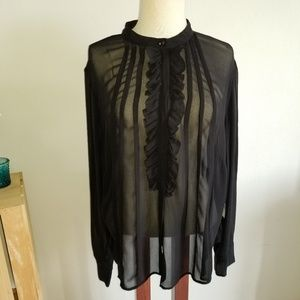 NWT black Victor see through blouse size 20W